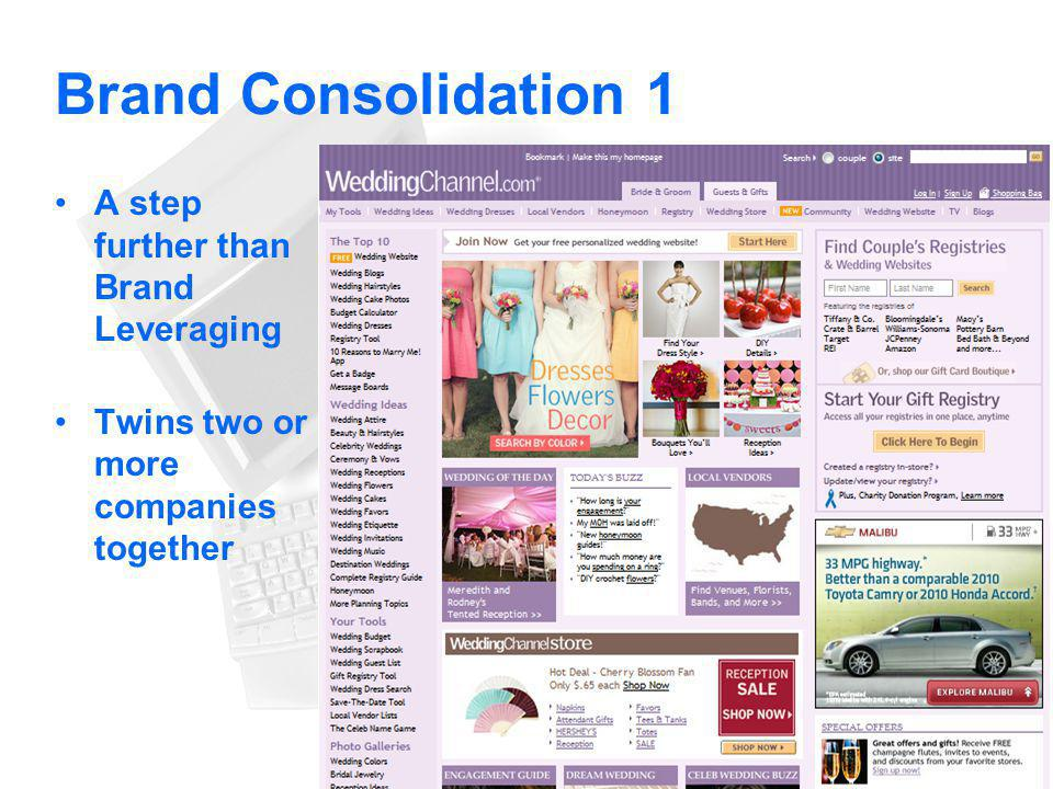 Brand Consolidation 1 A step further than Brand Leveraging Twins two or more companies together 55