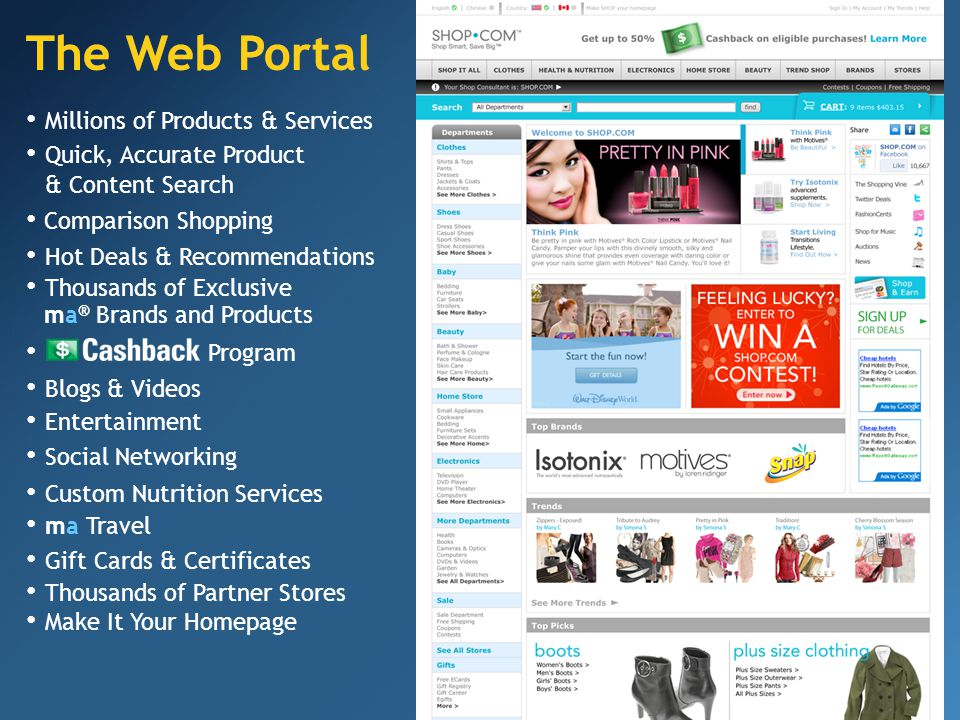 The Web Portal Make It Your Homepage Quick, Accurate Product & Content Search Entertainment Social Networking Comparison Shopping Hot Deals & Recommendations Thousands of Exclusive ma ® Brands and Products Program Blogs & Videos Thousands of Partner Stores Millions of Products & Services Custom Nutrition Services ma Travel Gift Cards & Certificates