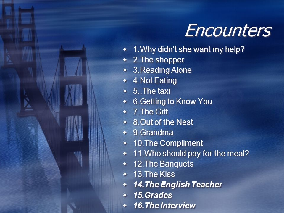 The Encounters-short stories Critical incident exercises start with a presentation of a short story describing a problematic encounter between two different cultures-an encounter in which there is some kind of misunderstanding.