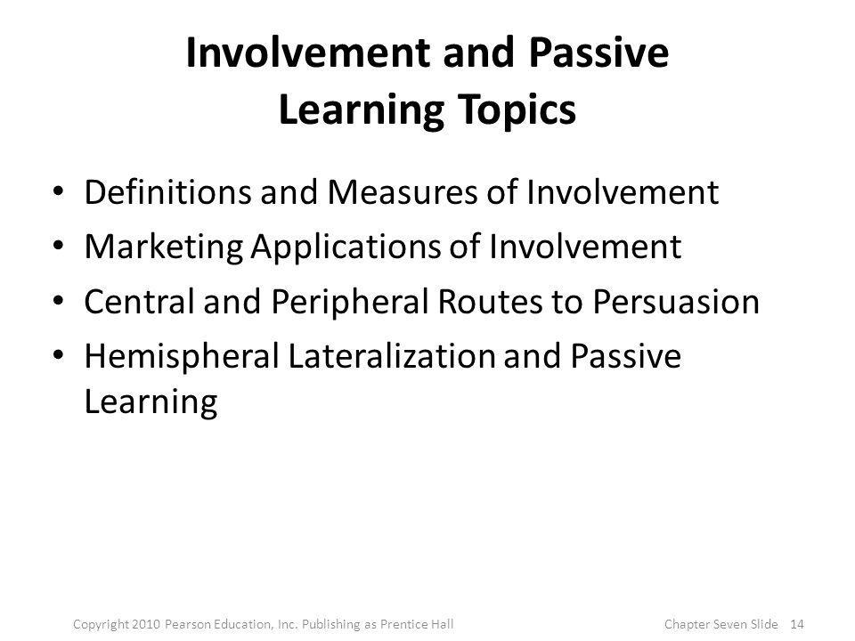 Involvement and Passive Learning Topics Definitions and Measures of Involvement Marketing Applications of Involvement Central and Peripheral Routes to