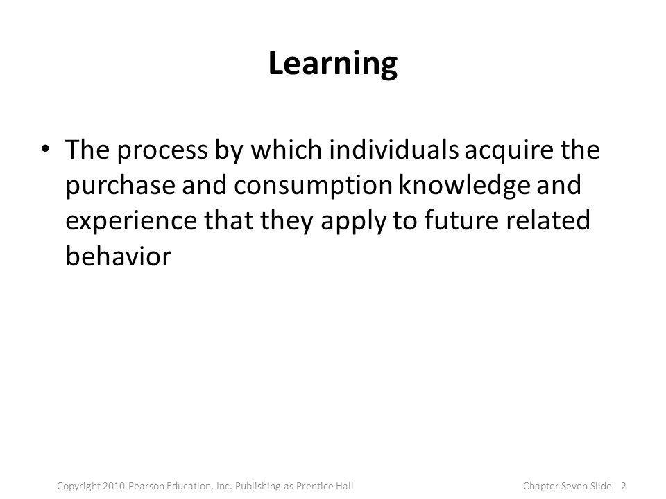 Elements of Learning Theories Motivation – Unfilled needs lead to motivation Cues – Stimuli that direct motives Response – Consumer reaction to a drive or cue Reinforcement – increases the likelihood that a response will occur in the future as a result of a cue