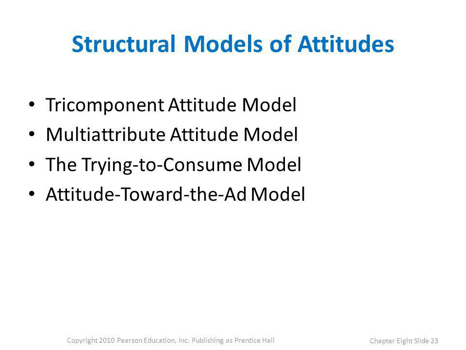 Structural Models of Attitudes Tricomponent Attitude Model Multiattribute Attitude Model The Trying-to-Consume Model Attitude-Toward-the-Ad Model Copy