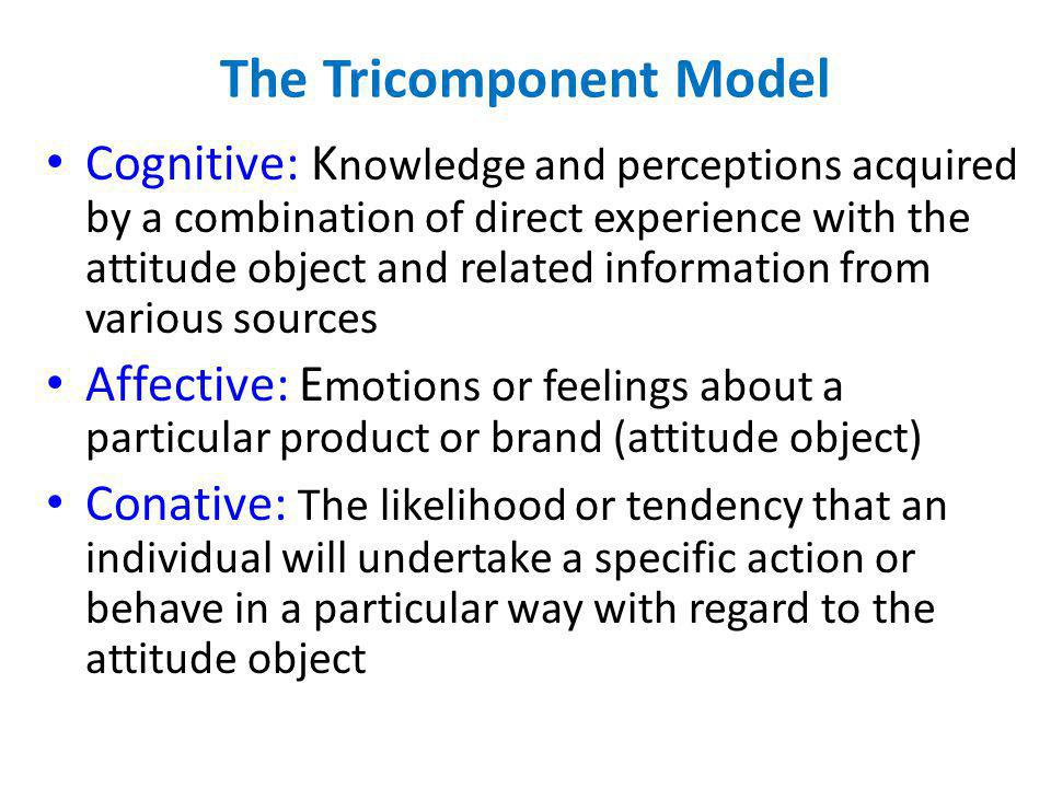The Tricomponent Model Cognitive: K nowledge and perceptions acquired by a combination of direct experience with the attitude object and related infor