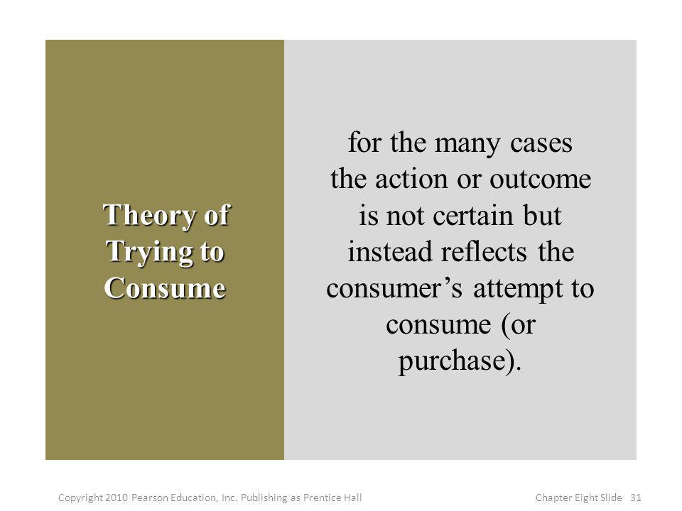 Theory of Trying to Consume for the many cases the action or outcome is not certain but instead reflects the consumers attempt to consume (or purchase