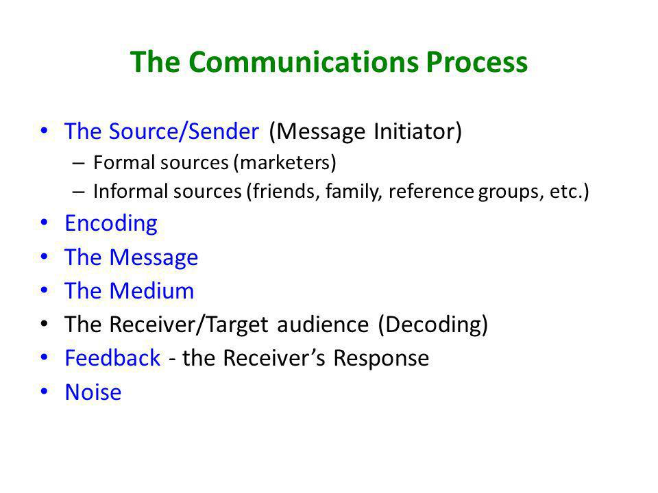 The Communications Process The Source/Sender (Message Initiator) – Formal sources (marketers) – Informal sources (friends, family, reference groups, e