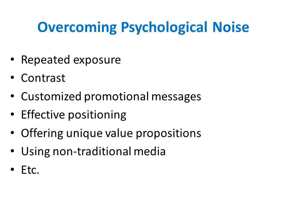 Overcoming Psychological Noise Repeated exposure Contrast Customized promotional messages Effective positioning Offering unique value propositions Usi
