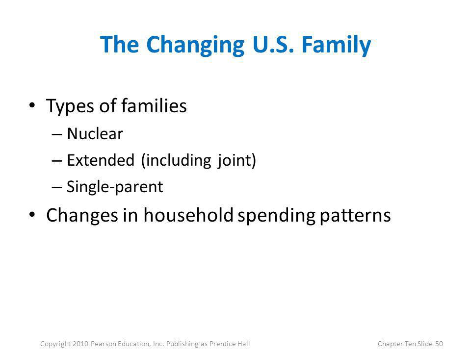 The Changing U.S. Family Types of families – Nuclear – Extended (including joint) – Single-parent Changes in household spending patterns 50Copyright 2