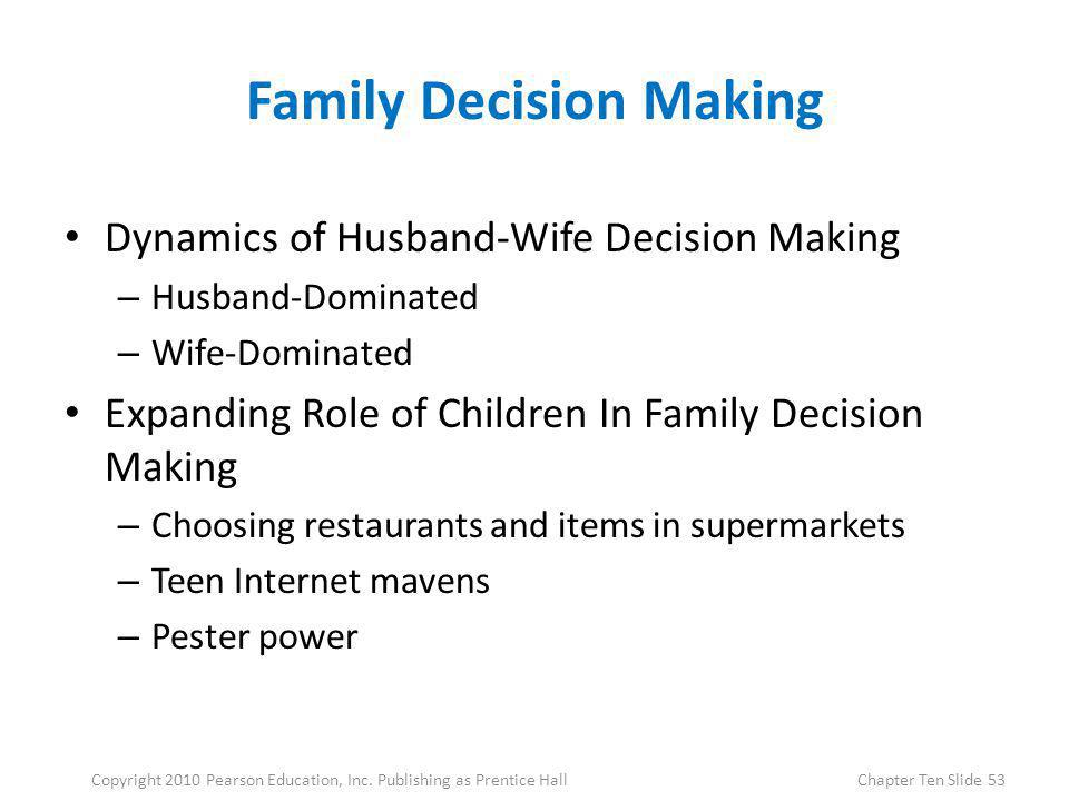 Family Decision Making Dynamics of Husband-Wife Decision Making – Husband-Dominated – Wife-Dominated Expanding Role of Children In Family Decision Mak