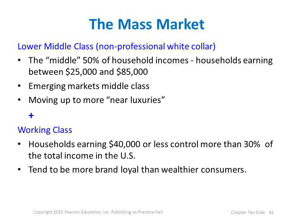 The Mass Market Lower Middle Class (non-professional white collar) The middle 50% of household incomes - households earning between $25,000 and $85,00