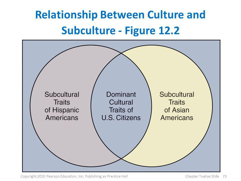 Relationship Between Culture and Subculture - Figure 12.2 73Copyright 2010 Pearson Education, Inc. Publishing as Prentice HallChapter Twelve Slide