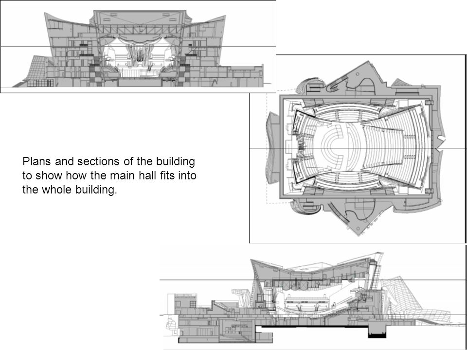 Plans and sections of the building to show how the main hall fits into the whole building.