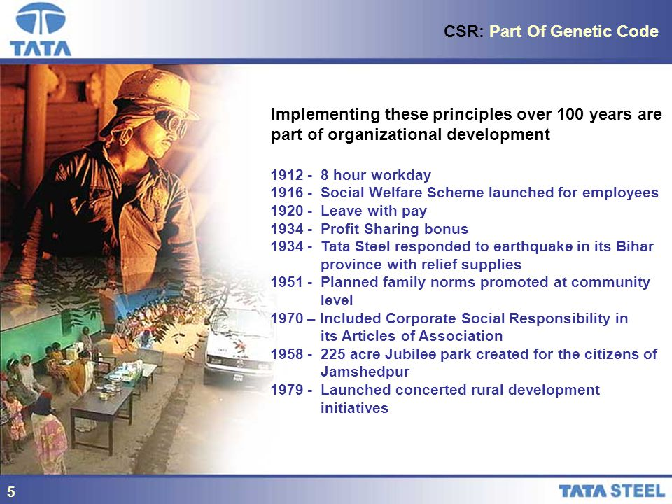 5 CSR: Part Of Genetic Code Implementing these principles over 100 years are part of organizational development hour workday Social Welfare Scheme launched for employees Leave with pay Profit Sharing bonus Tata Steel responded to earthquake in its Bihar province with relief supplies Planned family norms promoted at community level 1970 – Included Corporate Social Responsibility in its Articles of Association acre Jubilee park created for the citizens of Jamshedpur Launched concerted rural development initiatives 5