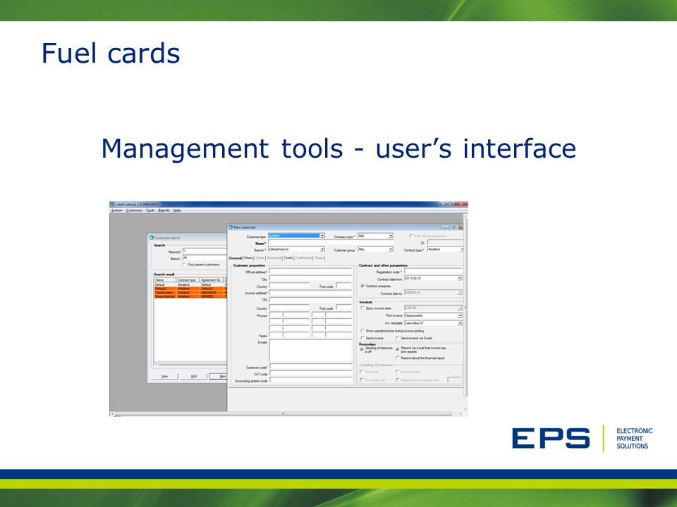 Fuel cards Management tools - users interface