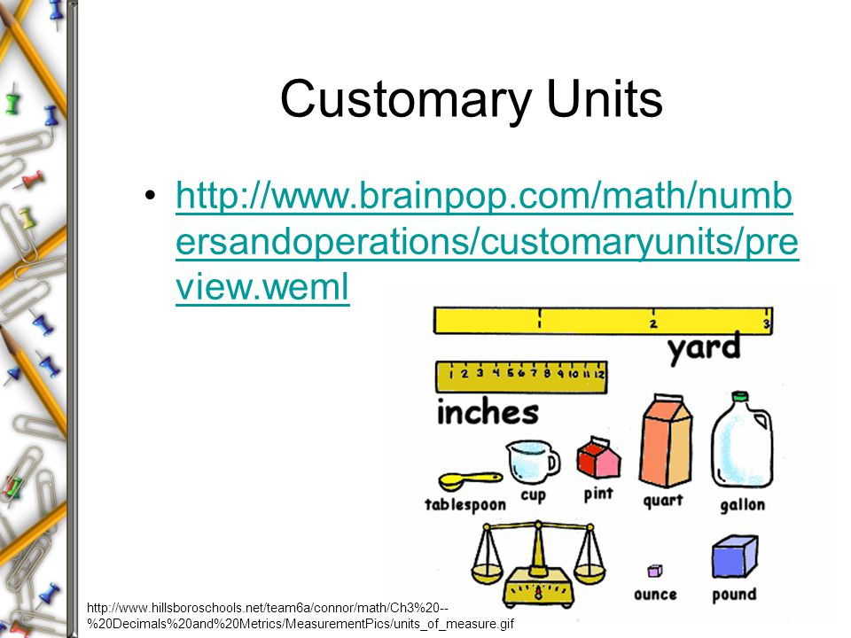 Customary Units http://www.brainpop.com/math/numb ersandoperations/customaryunits/pre view.wemlhttp://www.brainpop.com/math/numb ersandoperations/customaryunits/pre view.weml http://www.hillsboroschools.net/team6a/connor/math/Ch3%20-- %20Decimals%20and%20Metrics/MeasurementPics/units_of_measure.gif