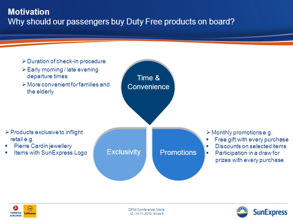 DFNI Conference, Malta 12.-14.11.2012, Slide 9 Motivation Why should our passengers buy Duty Free products on board.