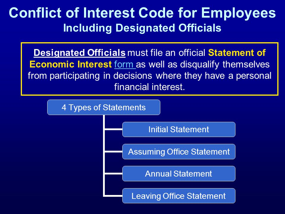 Conflict of Interest Code for Employees Including Designated Officials 4 Types of Statements Initial Statement Assuming Office Statement Annual Statem