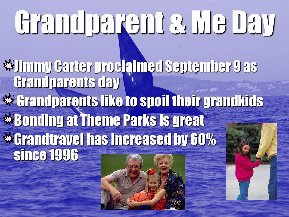 Grandparent & Me Day Jimmy Carter proclaimed September 9 as Grandparents day Grandparents like to spoil their grandkids Grandparents like to spoil their grandkids Bonding at Theme Parks is great Grandtravel has increased by 60% since 1996