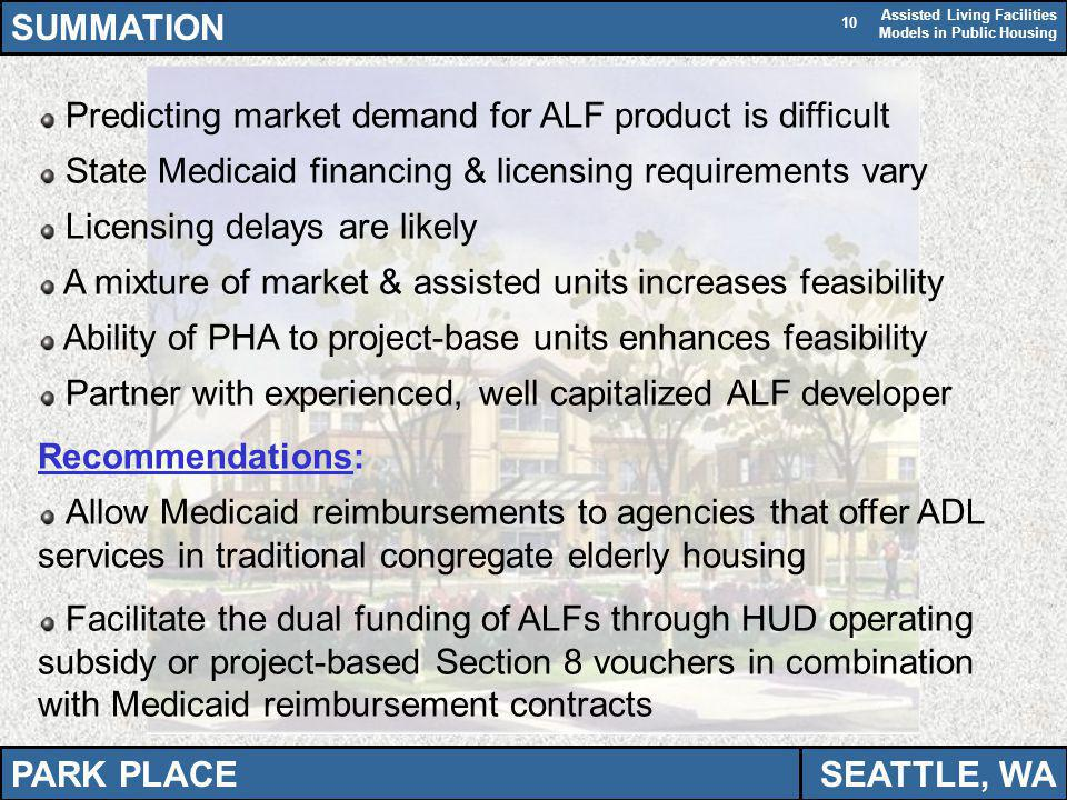 Assisted Living Facilities Models in Public Housing 10 SUMMATION Predicting market demand for ALF product is difficult State Medicaid financing & lice