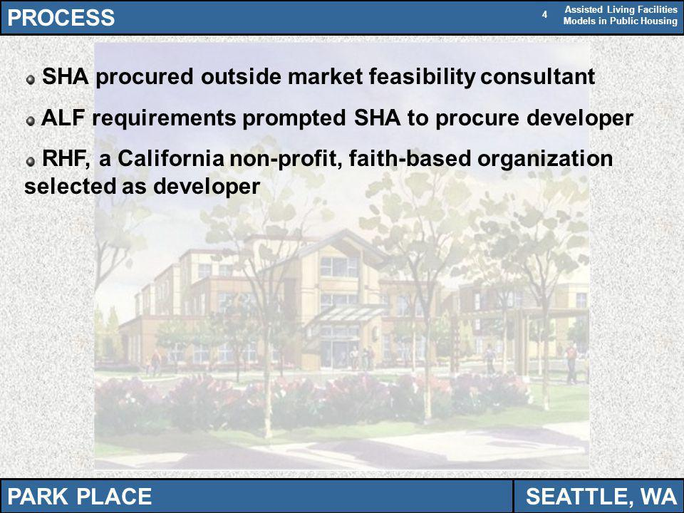 Assisted Living Facilities Models in Public Housing 4 PROCESS SHA procured outside market feasibility consultant ALF requirements prompted SHA to procure developer RHF, a California non-profit, faith-based organization selected as developer PARK PLACESEATTLE, WA