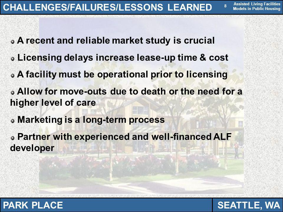 Assisted Living Facilities Models in Public Housing 8 CHALLENGES/FAILURES/LESSONS LEARNED A recent and reliable market study is crucial Licensing delays increase lease-up time & cost A facility must be operational prior to licensing Allow for move-outs due to death or the need for a higher level of care Marketing is a long-term process Partner with experienced and well-financed ALF developer PARK PLACESEATTLE, WA
