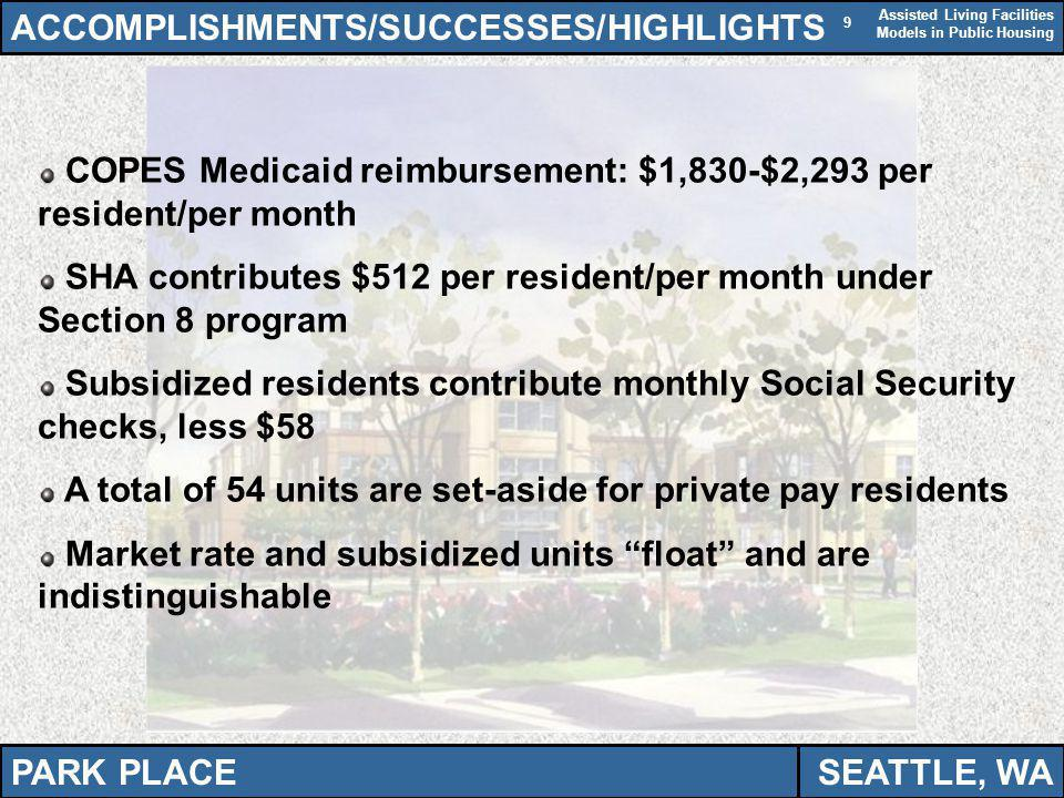 Assisted Living Facilities Models in Public Housing 9 ACCOMPLISHMENTS/SUCCESSES/HIGHLIGHTS COPES Medicaid reimbursement: $1,830-$2,293 per resident/pe