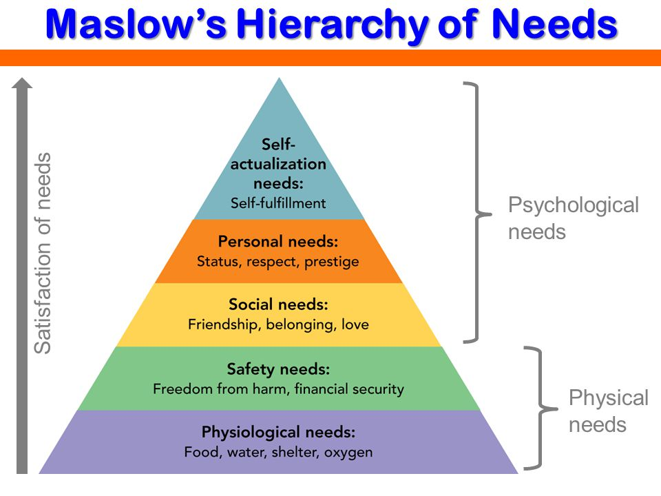 Maslows Hierarchy of Needs Physical needs Psychological needs Satisfaction of needs