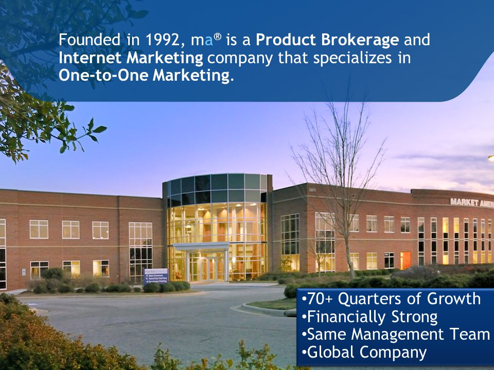 Founded in 1992, ma ® is a Product Brokerage and Internet Marketing company that specializes in One-to-One Marketing.