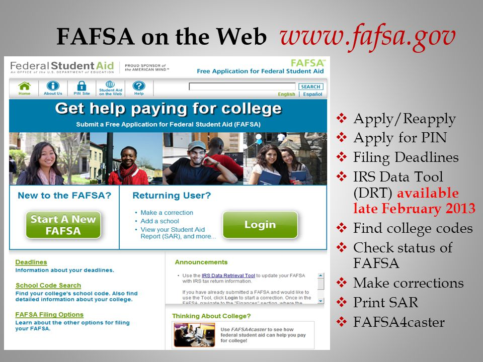 FAFSA on the Web www.fafsa.gov Apply/Reapply Apply for PIN Filing Deadlines IRS Data Tool (DRT) available late February 2013 Find college codes Check