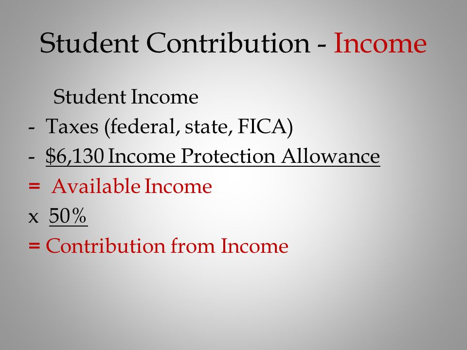 Student Contribution - Income Student Income -Taxes (federal, state, FICA) -$6,130 Income Protection Allowance = Available Income x 50% = Contribution