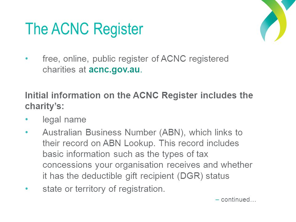 The ACNC Register free, online, public register of ACNC registered charities at acnc.gov.au.