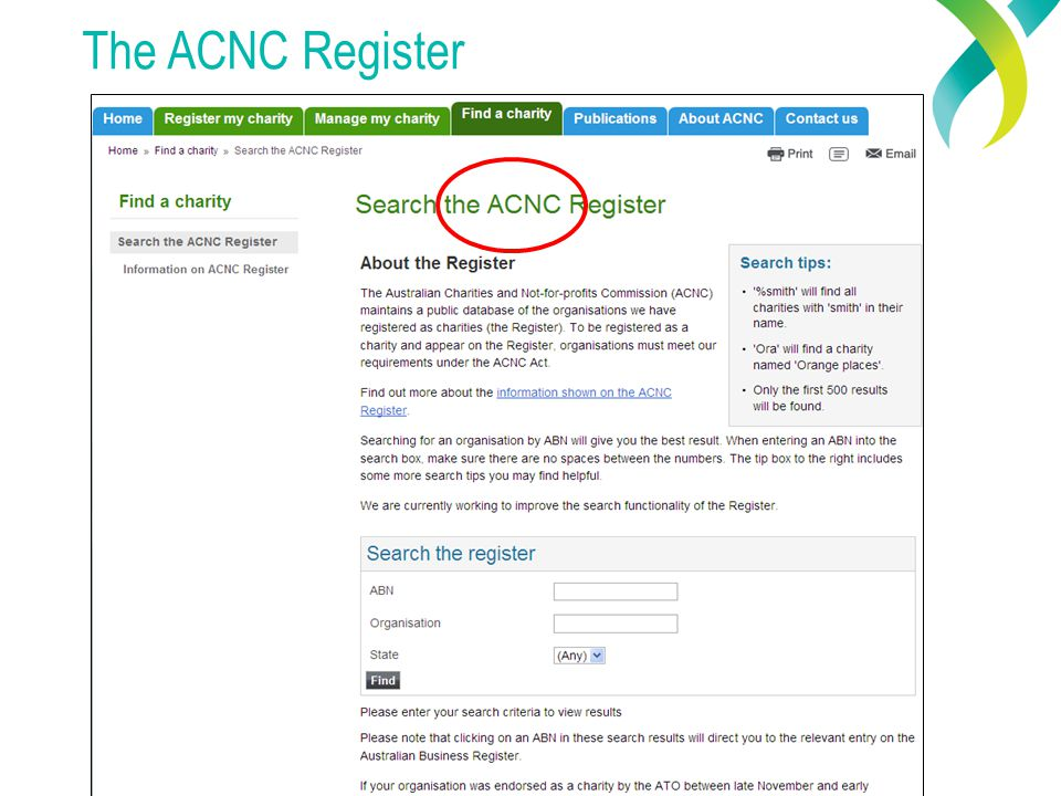 The ACNC Register