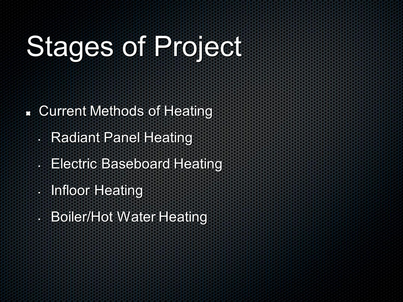 Stages of Project Current Methods of Heating Radiant Panel Heating Radiant Panel Heating Electric Baseboard Heating Electric Baseboard Heating Infloor Heating Infloor Heating Boiler/Hot Water Heating Boiler/Hot Water Heating