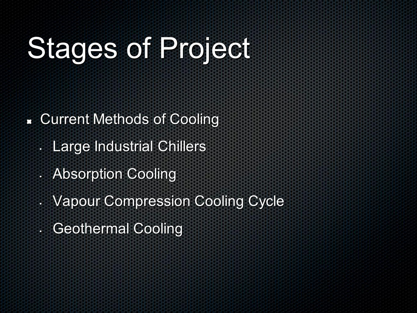Stages of Project Current Methods of Cooling Large Industrial Chillers Large Industrial Chillers Absorption Cooling Absorption Cooling Vapour Compression Cooling Cycle Vapour Compression Cooling Cycle Geothermal Cooling Geothermal Cooling