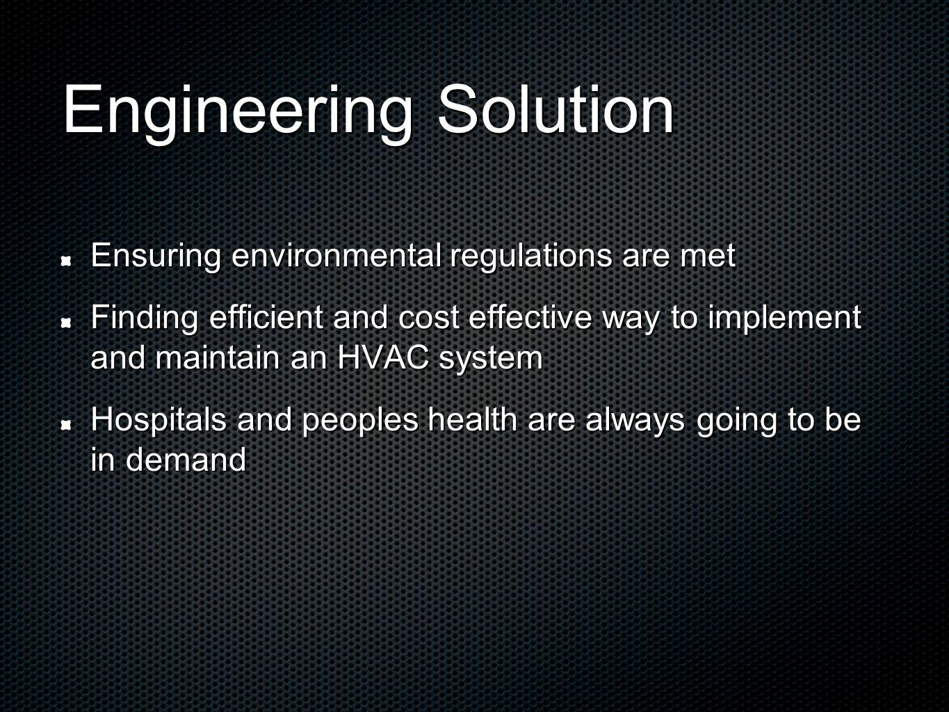 Engineering Solution Ensuring environmental regulations are met Finding efficient and cost effective way to implement and maintain an HVAC system Hosp