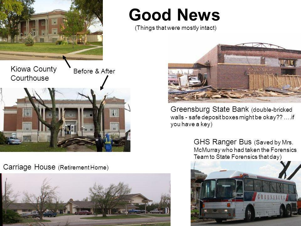 Good News (Things that were mostly intact) GHS Ranger Bus (Saved by Mrs. McMurray who had taken the Forensics Team to State Forensics that day) Carria
