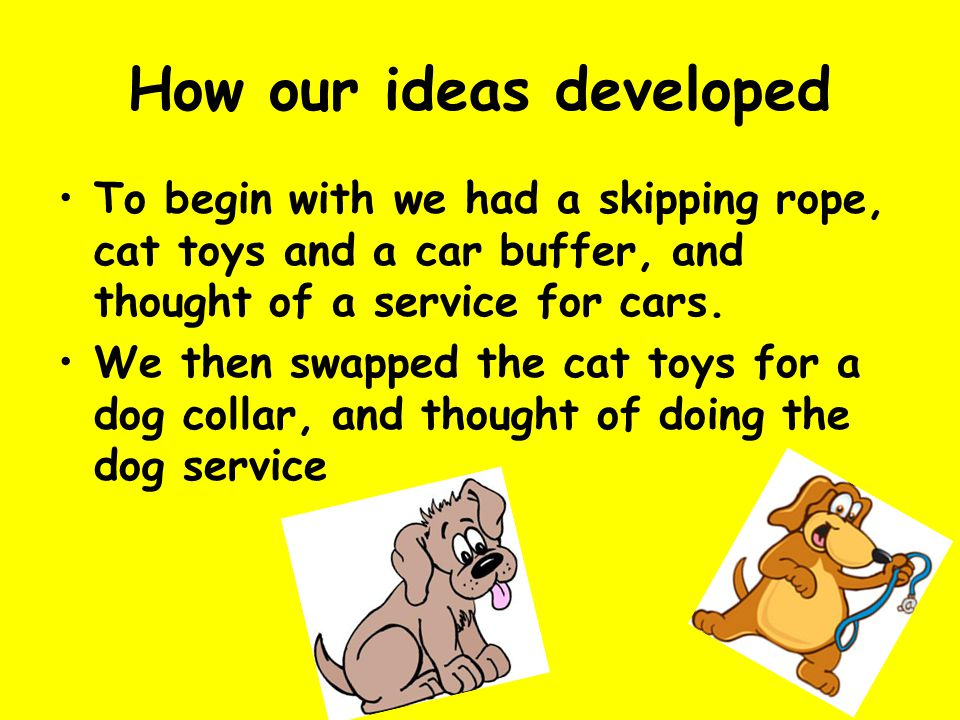How our ideas developed To begin with we had a skipping rope, cat toys and a car buffer, and thought of a service for cars.