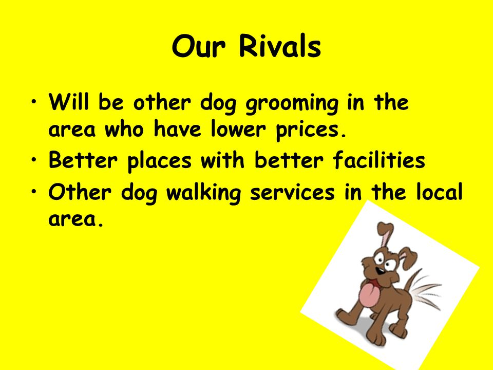 Our Rivals Will be other dog grooming in the area who have lower prices.