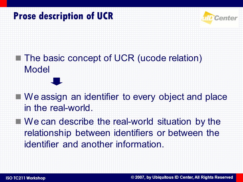 ISO TC211 Workshop © 2007, by Ubiquitous ID Center, All Rights Reserved Prose description of UCR The basic concept of UCR (ucode relation) Model We assign an identifier to every object and place in the real-world.