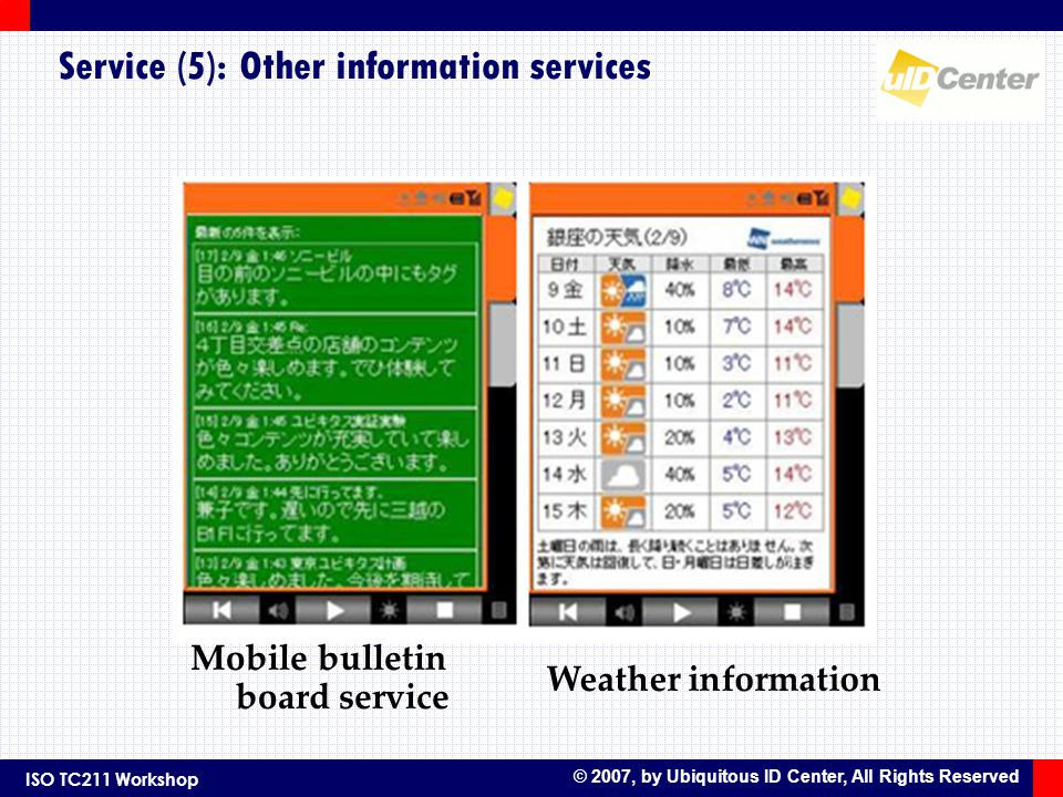 ISO TC211 Workshop © 2007, by Ubiquitous ID Center, All Rights Reserved Service (5): Other information services Mobile bulletin board service Weather information