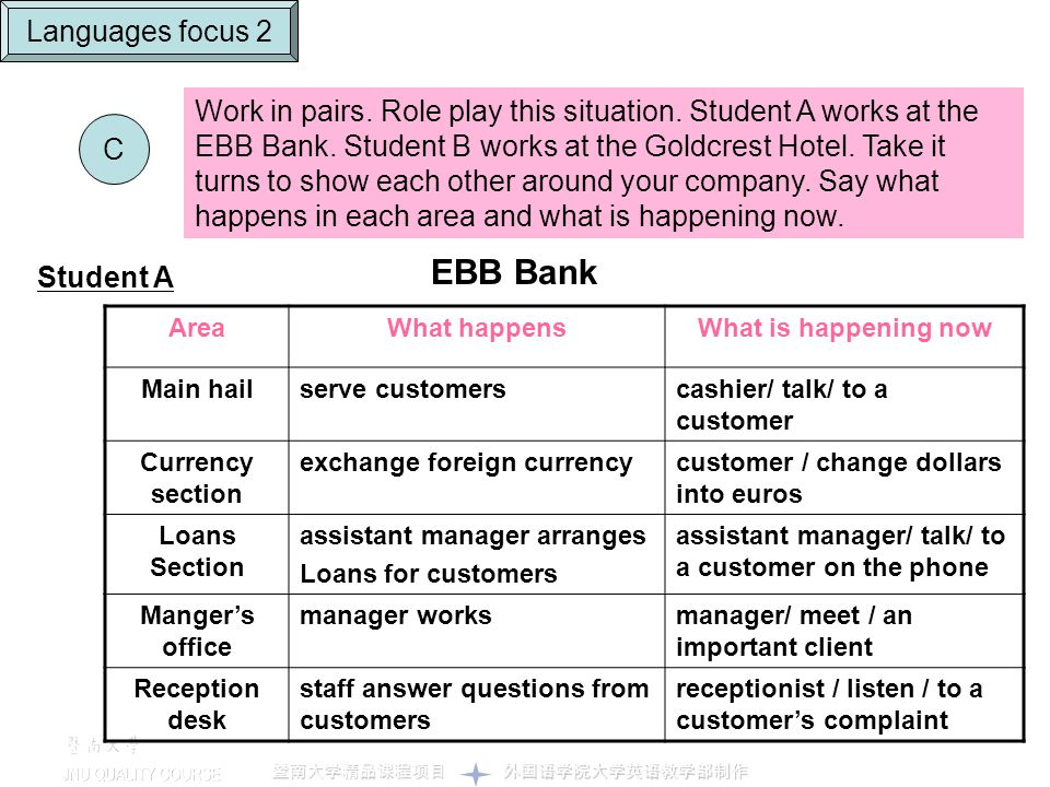C Languages focus 2 Work in pairs. Role play this situation. Student A works at the EBB Bank. Student B works at the Goldcrest Hotel. Take it turns to