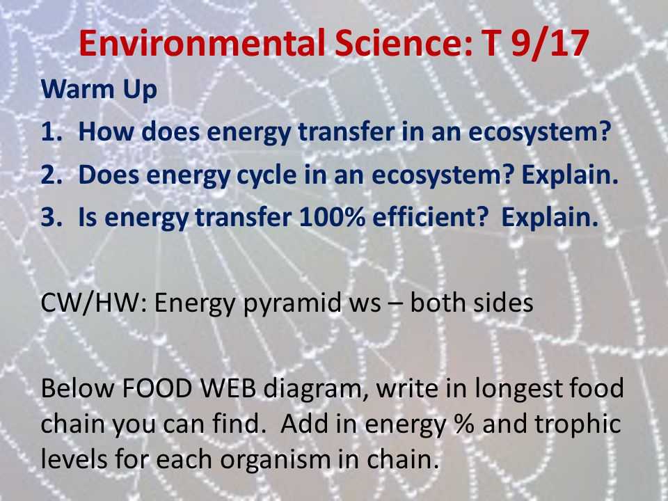Environmental Science: T 9/17 Warm Up 1.How does energy transfer in an ecosystem? 2.Does energy cycle in an ecosystem? Explain. 3.Is energy transfer 1