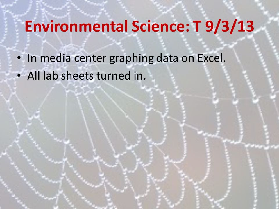 Environmental Science: T 9/3/13 In media center graphing data on Excel. All lab sheets turned in.