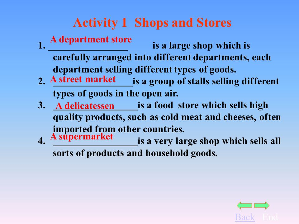 BackEnd Activity 1 Shops and Stores 5._____________is a small shop that sells fashionable clothes.