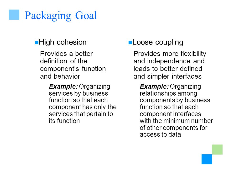 Packaging Goal High cohesion Provides a better definition of the components function and behavior Example: Organizing services by business function so that each component has only the services that pertain to its function Loose coupling Provides more flexibility and independence and leads to better defined and simpler interfaces Example: Organizing relationships among components by business function so that each component interfaces with the minimum number of other components for access to data