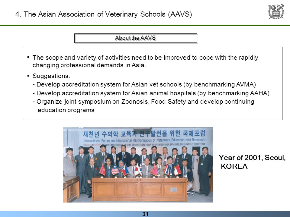 31 4. The Asian Association of Veterinary Schools (AAVS) About the AAVS The scope and variety of activities need to be improved to cope with the rapid