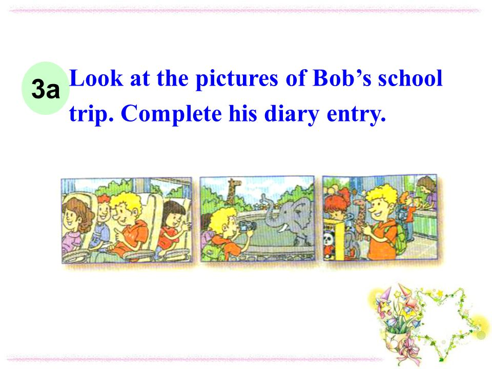 3a Look at the pictures of Bobs school trip. Complete his diary entry.