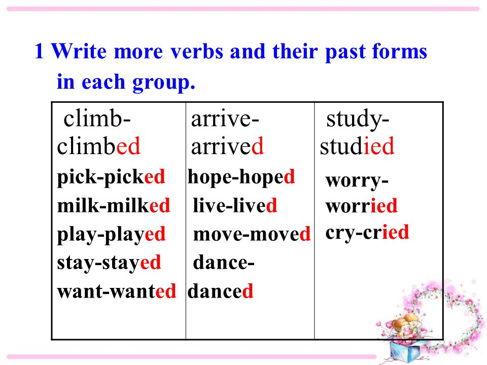 1 Write more verbs and their past forms in each group. climb- climbed arrive- arrived study- studied pick-picked milk-milked play-played stay-stayed w