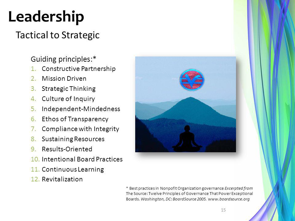 Leadership Tactical to Strategic Guiding principles:* 1.Constructive Partnership 2.Mission Driven 3.Strategic Thinking 4.Culture of Inquiry 5.Independ