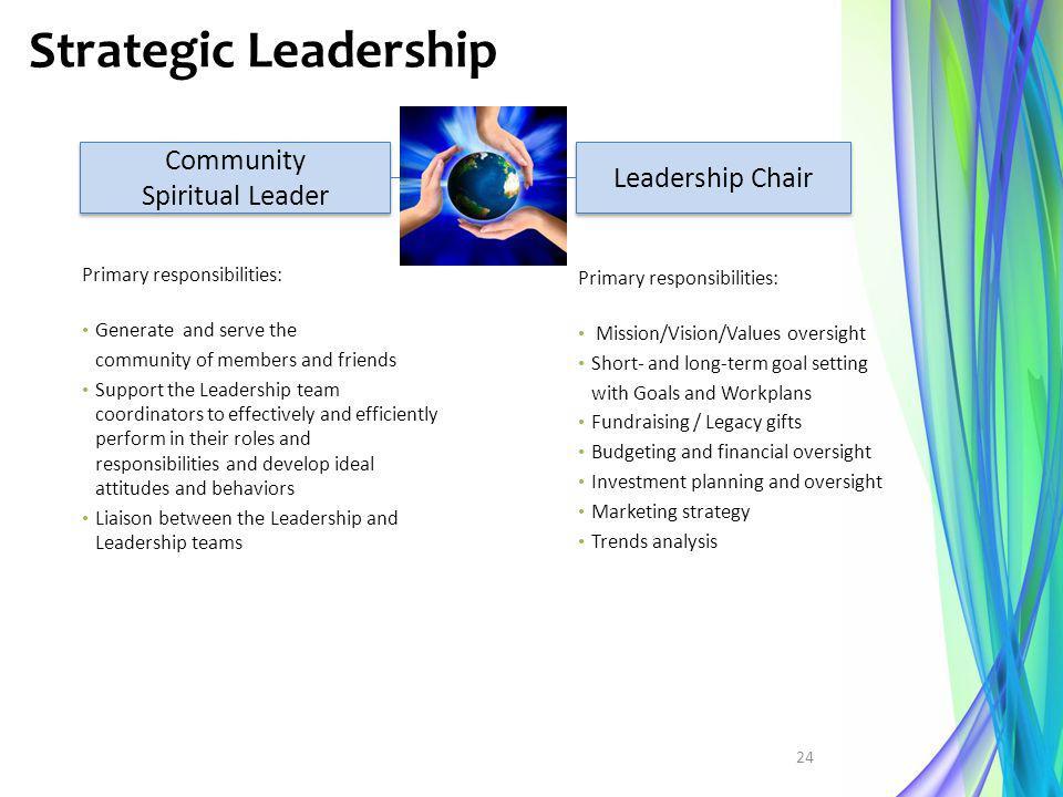 Strategic Leadership Community Spiritual Leader Community Spiritual Leader Leadership Chair Primary responsibilities: Mission/Vision/Values oversight