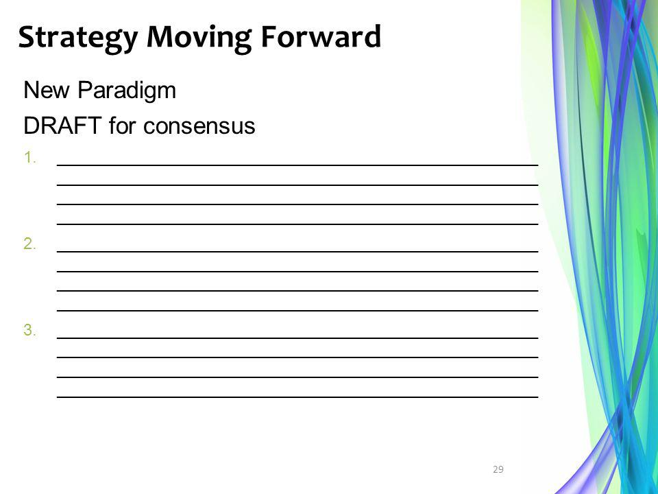 Strategy Moving Forward 29 New Paradigm DRAFT for consensus 1._____________________________________________________ __________________________________